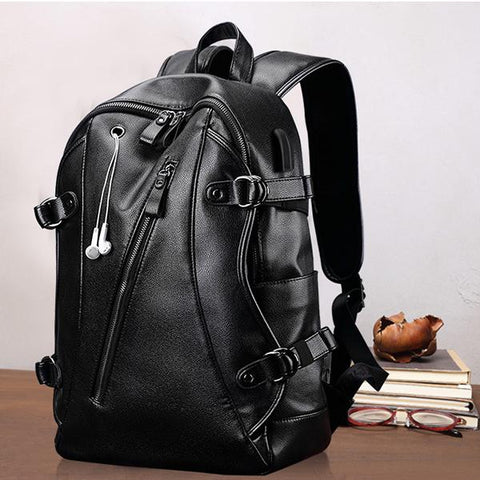 PU Anti-Theft USB Charge Men's Laptop Backpacks