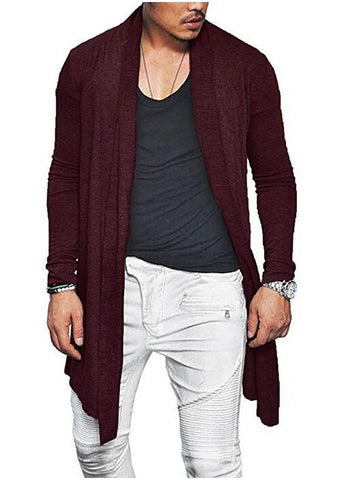 Men's loose cardigan casual long sleeve polo shirt