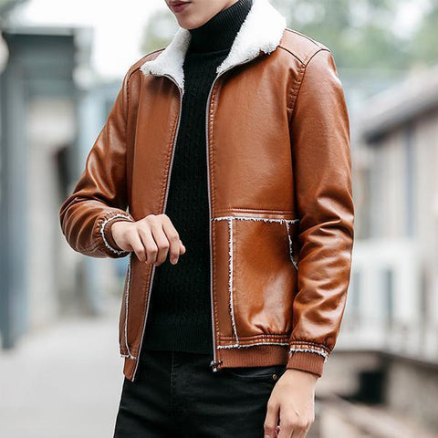 Casual Cotton Leather Warm Clothing Men's jacket