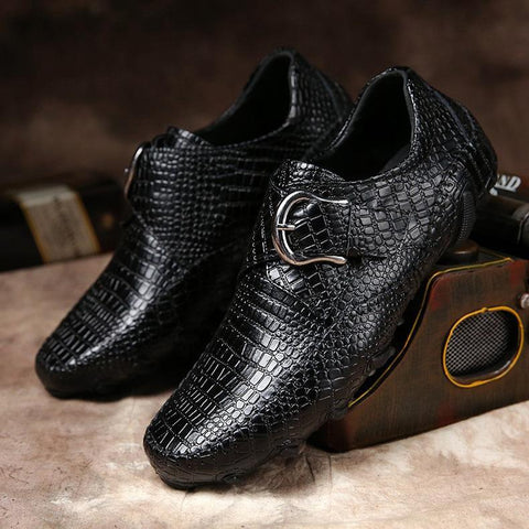 Fashion pure color leather alligator shoes