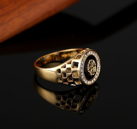 Diamond lion head men's ring