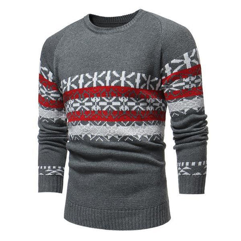 Christmas Round Neck Snowflake Slim Fit Sweater