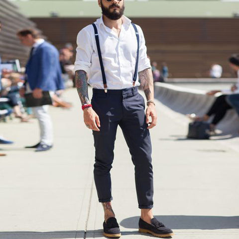 casual dark ocean blue fitted long bib pants
