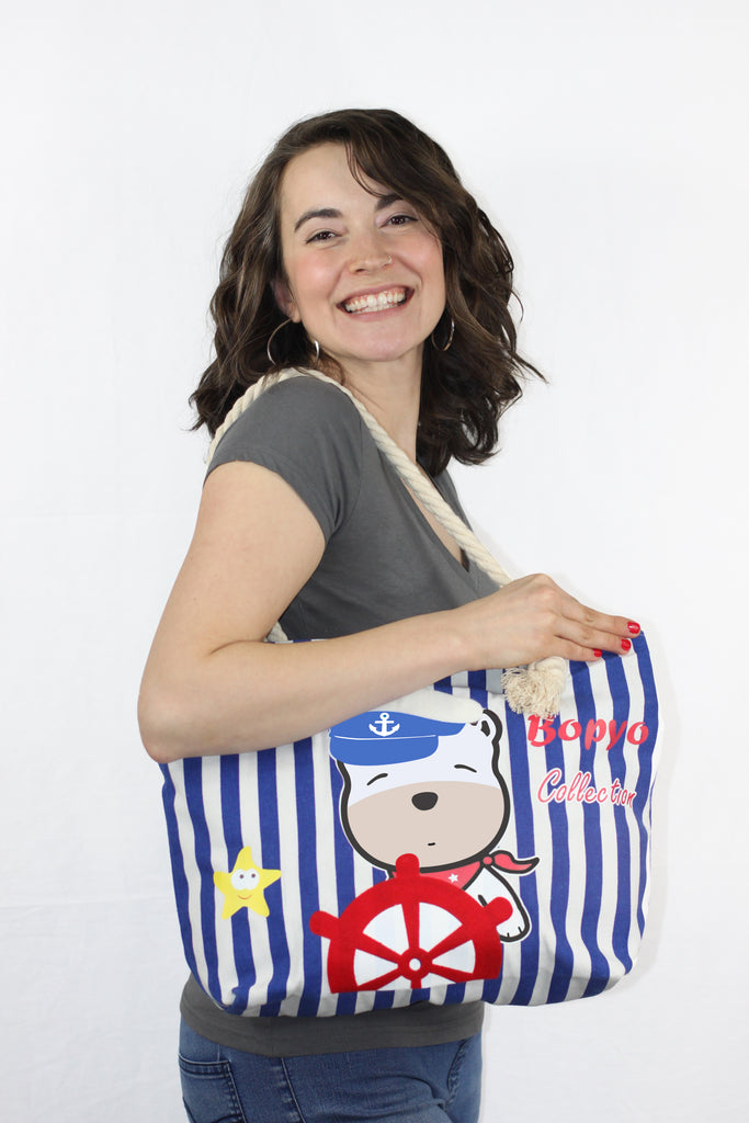 Pip Puppy Striped Canvas Tote Beach Bag