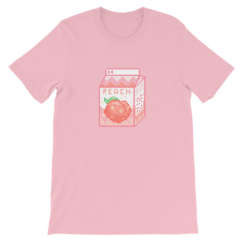 Pixel Art Peach Milk Carton Unisex Short Sleeve T-Shirt For Teens