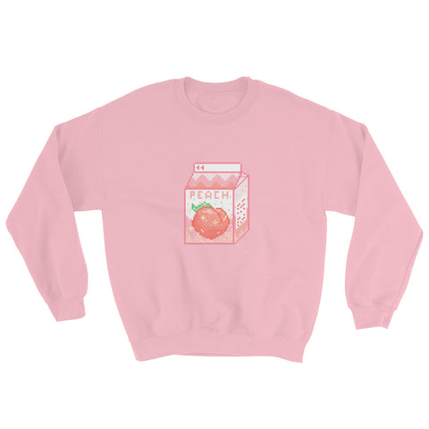 Pixel Art Peach Milk Carton Unisex Crewneck Sweatshirt For Teens, Women, and Men