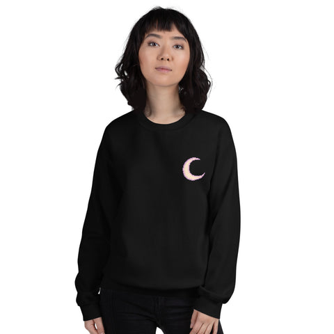 Purple Pixel Art Moon Unisex Sweatshirt For Men, Women, And Teens