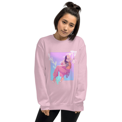 Trendy Girl With Split Hair Unisex Sweatshirt Original Design For Women, Men, And Teens