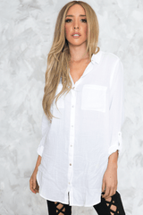 Casual Button-Up White Shirt in White