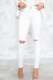 Ripped-Knee Skinny Denim Pants in White