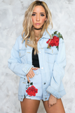 Just Us Rose Patch Denim Jacket in Light Wash