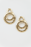 Gold plated overlapped hoop earrings in Gold