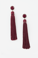 Long Tassel Earrings in Maroon