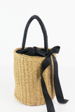 Round Straw Basket Bag in Natural