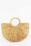 Circle Handle Straw Basket Bag in Natural
