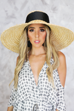 Ribbon Large Brim Straw Hat in Natural
