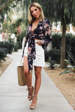 Forever Lost Floral Kimono in Navy