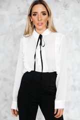 Chiffon Blouse with Ruffle in White