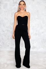 High Waist Crepe Trousers  in Black