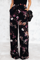 Floral Print Palazzo Pants in Black/Multi