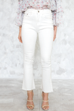 Flare Crop Denim Pant in White