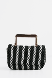 Look Pretty Handle Clutch in Black/White