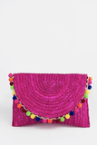 Pom-Pom Straw Envelope Clutch in Fuchsia