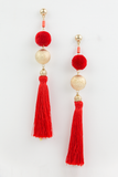 Whole Heart Long Fringe Earring in Red/Gold