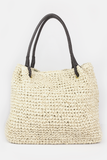 Flat handle straw bag in Natural
