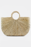 Large Straw Basket Bag in Tan