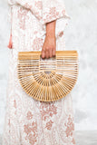 Bamboo Wood Cutout Handle Clutch in Natural