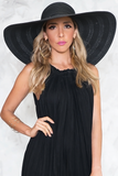 Lana Floppy Brim Straw Hat in Black