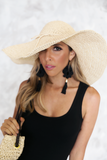 Woven Straw Beach Hat in  Natural