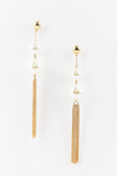 Need You Pearl & Metal Tassel Earrings in Gold/Pearl
