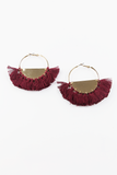 Strange Ways Fringe Earrings in Gold/Maroon