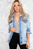 So real distressed denim jacket in Medium Wash