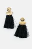 So Good Fringe Tassel Earring in Black/Gold