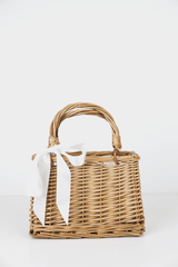Box Basket Bag with Black and White Ribbon in Natural