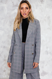 Plaid Double Breast Long Blazer in Grey