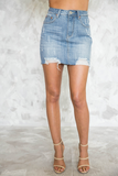 Take Me Back Denim Skirt in Light Wash