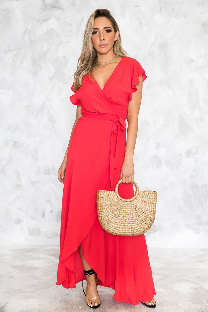 Red ruffle long dress