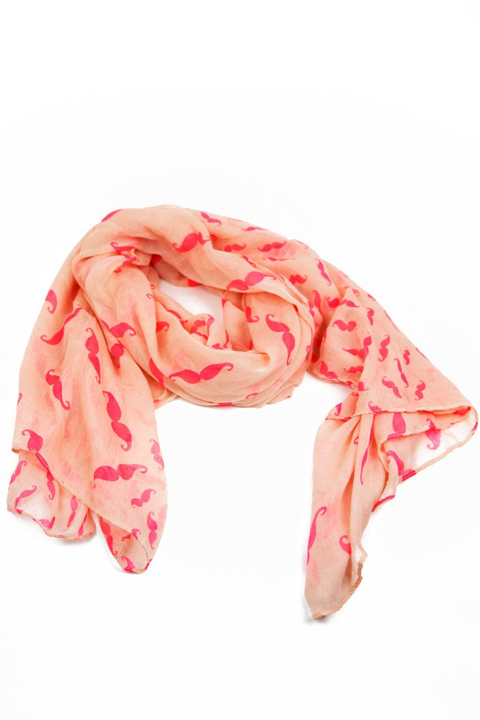 MUSTACHE PRINT SCARF - Neon Orange - Haute & Rebellious