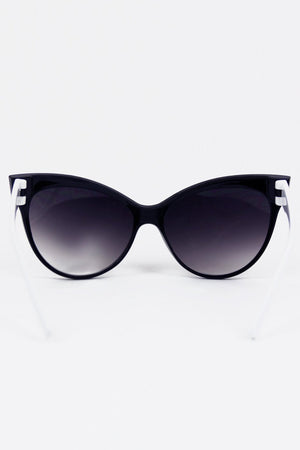 CAT EYE FRAME SUNGLASSES - Black/White - Haute & Rebellious