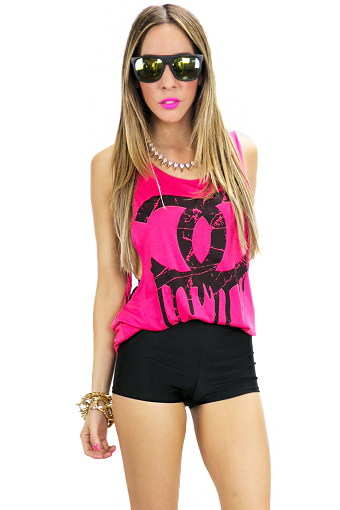 DRIPPING CHANEL TANK - Fuchsia