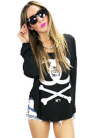 CHANEL & BONES LONG SLEEVE TOP - Black - Haute & Rebellious