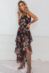 Floral Print Chiffon Dress - Navy