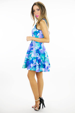 WATERCOLOR PRINT DRESS - Blue - Haute & Rebellious