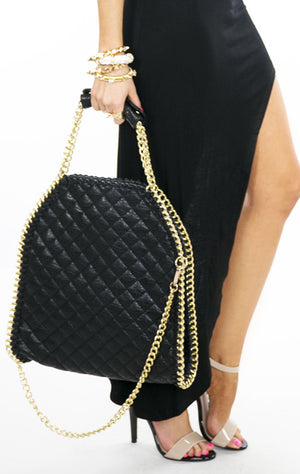 QUILTED LARGE TOTE BAG WITH GOLD CHAINS - Black - Haute & Rebellious