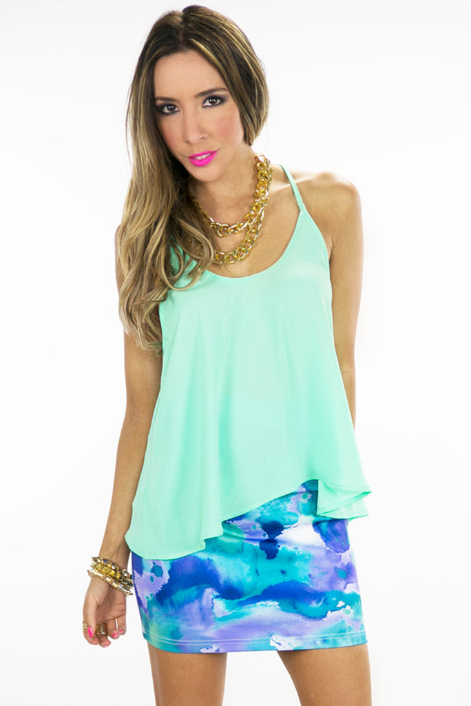 T-BACK CHIFFON TOP - Mint