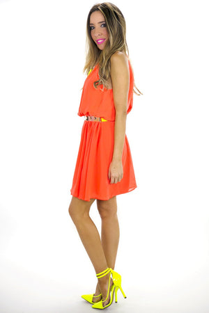 NEON HIGH NECKLINE PLEATED DRESS - Haute & Rebellious